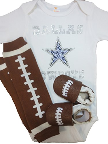 FanGarb Baby Infant Toddler Dallas Cowboys Crystal Bodysuit, leg warmers & shoes