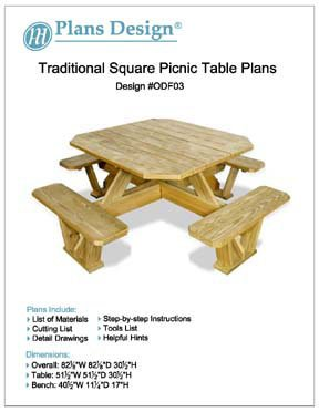 Traditional Square Picnic Table / Benches Woodworking Plans, #ODF03
