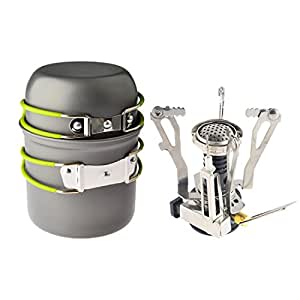 Leegoal Ultralight Backpacking Canister Camp Stove with Piezo Ignition 3.9oz