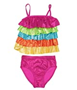 Flapdoodles Girls 2-6X Metallic Ruffled 2 Piece Swimsuit