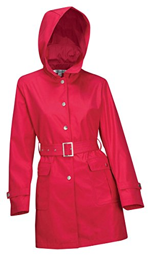 Tri-Mountain Womens 100% Polyester Hooded Trench Coat - Scarlet - S front-472359