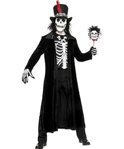 Voodookostüm Kostüm Voodoo Meister Skelett Skelettkostüm für Herren Vodoo Herrenkostüm Halloween Halloweenkostüm Totenkopf Gr. M / 48 - 50