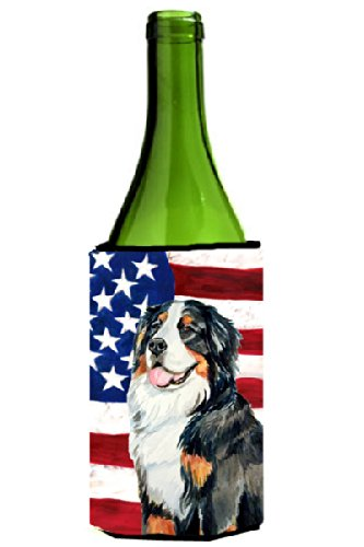 Bernese Mountain Dog American Flag Wine Bottle Beverage Insulator