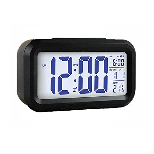 FosFun NZ-356 5.3 Smart, Simple and Silent LED Alarm Clock w/ Date Display, Repeating Snooze and Sensor Light + Night Light