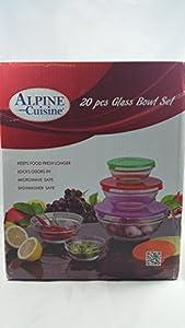 Alpine cusine 20 piece glass bowl storage set for Alpine cuisine glass bowl set