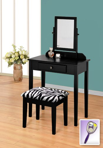 New Black Wooden Make Up Vanity Table With Mirror & Black & White Zebra Faux Fur Themed Bench front-302742