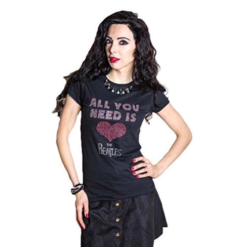 Mujer-oficial-Beatles-todo-lo-que-necesitas-es-amor-Premium-Rhinestud-brillante-camiseta