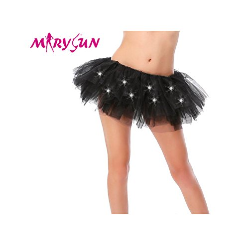 [Led Tutu Light Up Neon Black Tutu for Girls 80s Costume Tutu for Party] (Light Up Black Tutu)
