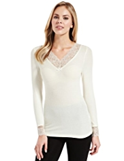 Modal Rich Ribbed Floral Lace Thermal Top with Silk