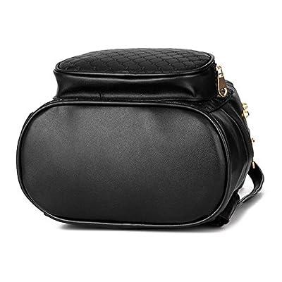 YJ.GWL Women Girls Ladies Backpack Fashion Shoulder Bag Rucksack PU Leather Rivets Travel Backpack (Black)