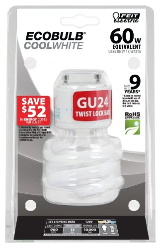 Feit BPESL13T/GU24/41K 13-watt Twist  GU24 Base 60-watt Equivalent Light Cool White