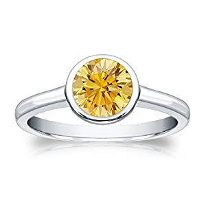1 cttw Bezel set Round-cut Yellow Diamond Solitaire Ring in 14k White Gold, Size 6.5
