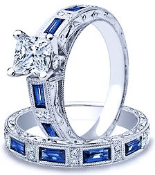 3.00 Ct Princess Cut Natural Genuine Diamond Engagement Anniversary Bridal Ring and Band Set On 14K White Gold 1.00 + Center stone E - F / VS - SI Certified