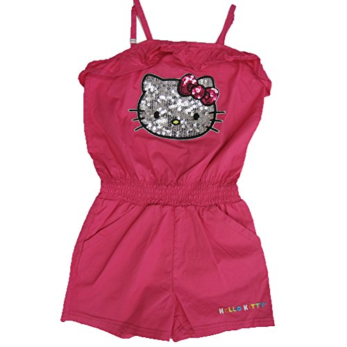 Hello Kitty Little Girls Fuchsia Glittery Applique Romper 6