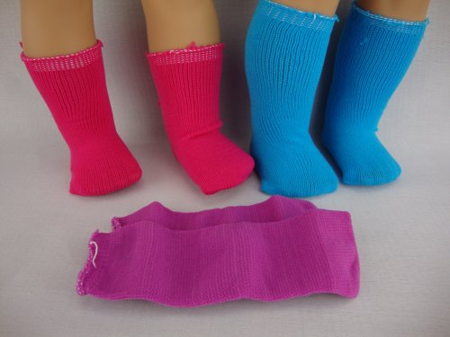 A Set of 3 Pairs of Socks and 3 Pairs of Panty Hose in Pink, Blue and Purple Made to Fit the 18 Inch Doll and the American Girl Doll Series