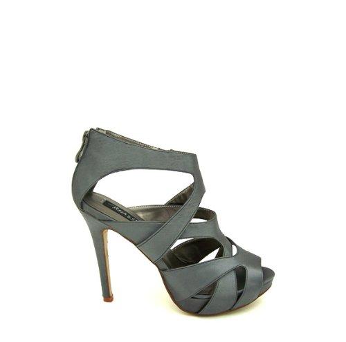 Fresa y chocholate zapato de fiesta con tacón y plataforma para señora 1002 gris-talla 37