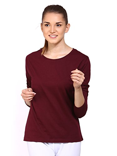 Ap'Pulse Women's Cotton Long Sleeve Round Neck T-Shirt (AP-WM-RN-LONGSLV-242-MAROON-S_Maroon_Small)  available at amazon for Rs.295