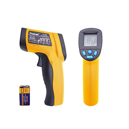 BEARLE Temperature Gun Non-contact Digital Infrared Thermometer, -58 ~ 716℉(-50 ~ 380℃)Temperature Gun MAX Display & EMS Adjustable ,IR Thermometer (Yellow) (Long Distance Temperature Sensor compare prices)