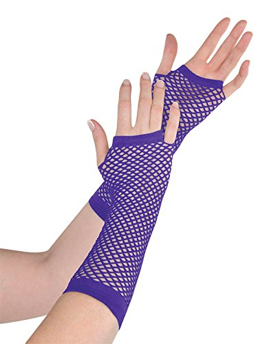 Purple Fishnet Long Gloves - 1