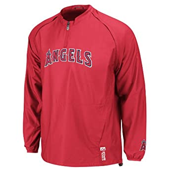 Mens Los Angeles Angels Of Anaheim Ltwght 1 4 Zip Gamer Jacket, City Maroon by Majestic