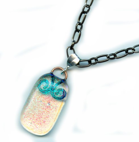 Baerreis - Dichroic Fused Glass Pendant Reflects Sparkling Blue on Clear - 18 Inch Gunmetal Chain