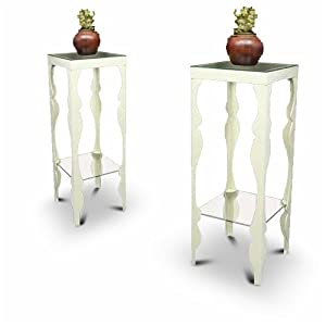 2 New Ivory / Off-white Metal Finish Plant / Phone Stands with Glass Shelves