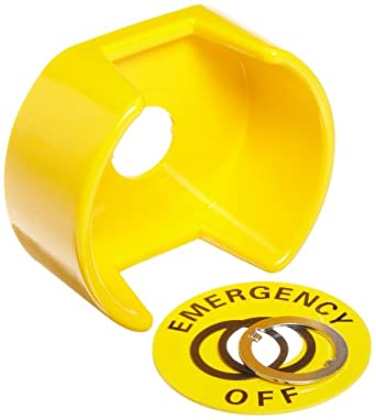Omron A22Z-EG1 Emergency Off Shroud With Legend Plate, Yellow