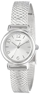 Timex Women's Dress T2P307 Silver Stainless-Steel Quartz Watch with Silver Dial