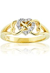 Solid 14k Yellow Gold Diamond Triple Heart Infinity Ring