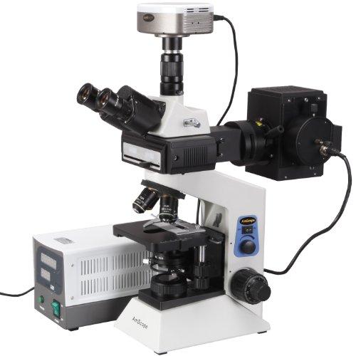 Amscope Fm580Tb-Mf Digital Trinocular Compound Epi-Fluorescence Microscope, Wf10X And Wf20X Eyepieces, 40X-2000X Magnification, Brightfield, 30W Halogen Illumination, Abbe Condenser, Double-Layer Mechanical Stage, Anti-Mold, 110V, Includes 4 Fluorescence