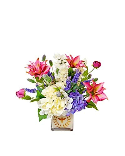 Creative Displays Clematis Mixed Floral Laurel Bee Pot, Fuchsia/Purple/White/Green