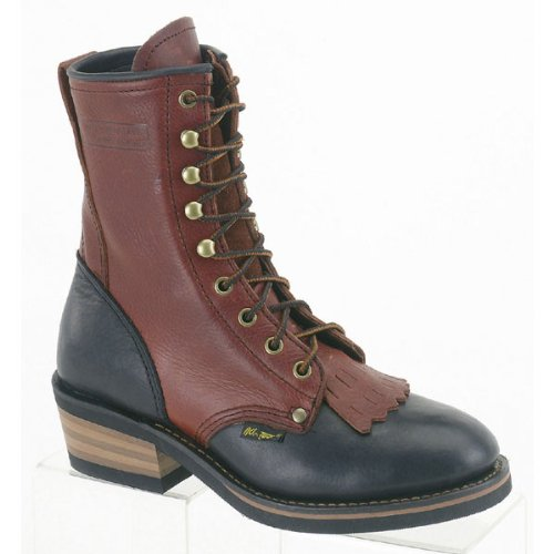 AdTec Womens 8in Western Packer Boots Tumble Two Tone Size 8