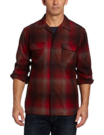 Pendleton Men's Classic Fit Board Shirt, Red/Brown Ombre, Large