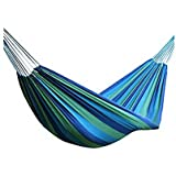 Merry Xmas Canvas Striped Outdoor Hammock/outdoor Bed(Blue)