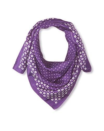Tom Ford Women's Polka Dot Silk Scarf, Purple/White Dots