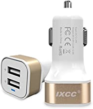iXCC® Dual USB 4.8 Amp (24 Watt) SMART Universal High Capacity [High Power] [Small Size] FAST Car charger with Exclusive ChargeWise (tm) Technology, for Apple iPhone 6/ 6 plus/ 5s/ 5c/ 5; iPad Air 2/ iPad Air; iPad mini 3/ iPad mini 2/ iPad mini; Samsung Galaxy S6 / S6 Edge / S5 / S4; Note Edge / Note 4 /Note 3 /Note 2; the new HTC One M8/ M9; Google Nexus and More [Gold]