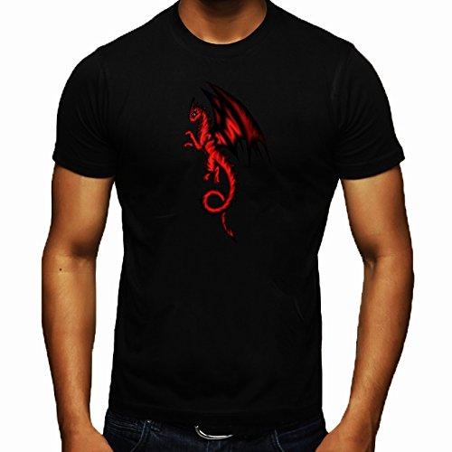 T-shirt Nero Girocollo Uomo - Taglia L - Drago Nero-rosso by Pezi Creation