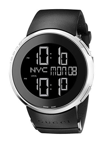 Gucci YA114202 - Reloj unisex, correa de goma color negro