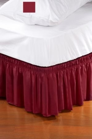 Wrap around style easy fit elastic bed ruffles for twin for Luxury hotel 660 collection bed skirt