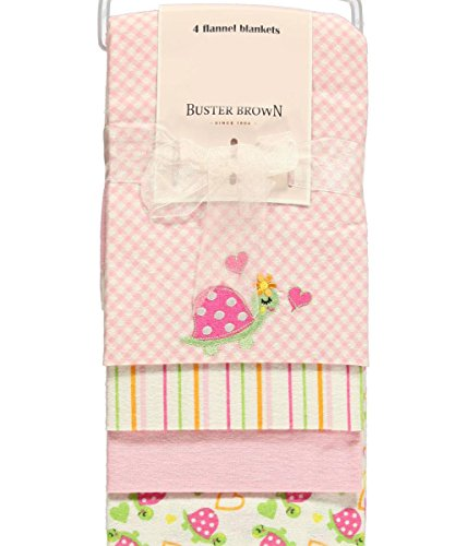 "Buster Brown ""Turtle Medley"" 4-Pack Blankets - pink, one size"
