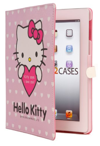 "Hello Kitty Themed Apple iPad 2 / New iPad 3 Faux Leather Folio Case with ""Kitty Says I Love You"" in Pink (Magnetic Closure, Automatic Sleep/Wake, 3x Angle Stand)"
