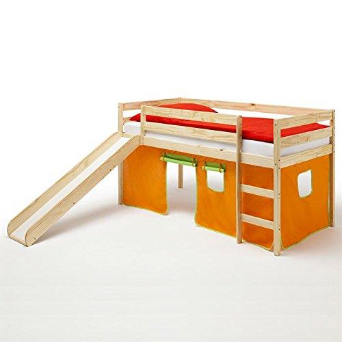 Spielbett Rutschbett Hochbett mit Rutsche BENNY, Kiefer massiv, mit Vorhang in orange/grün jetzt kaufen