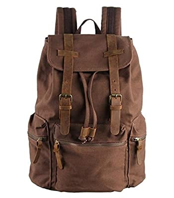 Polare Unisex Canvas Genuine Leather Travel Shcool Backpack Rucksack Fit 17.3''laptop