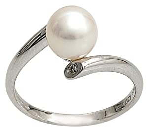 Kimura Pearls 7.5-8.0mm White Semi Round AA Quality Cultured Fresh Water Pearl and Diamond Ring 9 Carat White Gold Size P