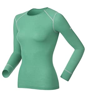 Odlo Damen Funktionsunterwäsche Long Sleeve Shirt Crew Neck Warm, mystic green - high-rise, XXS, 152021