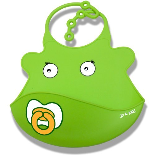 JP and Kids Baby Bibs - Cute Funny Adjustable Waterproof Silicone Baby Bib. Pocket Bibs Protect Clothes.