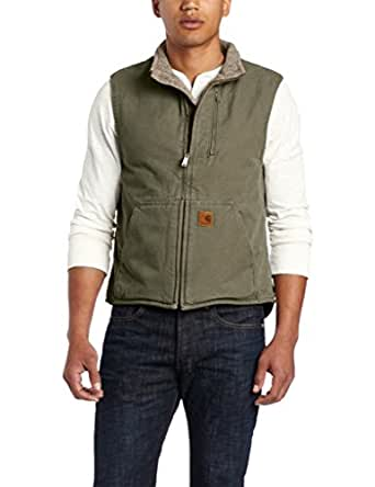 Carhartt Men's Big & Tall Sherpa Lined Sandstone Mock Neck Vest V33,Army Green,Small