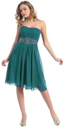 Party Short Cocktail Dress #711 (8, Teal Green)
