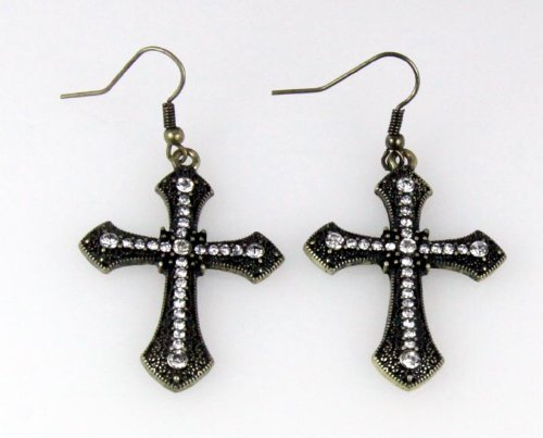 5030023 Cross Earrings CZ Diamond Antique Brushed Filigree Christian Religious