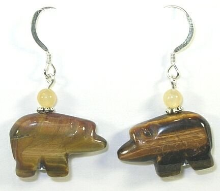 Tigers Eye Zuni Bear Fetish Earrings